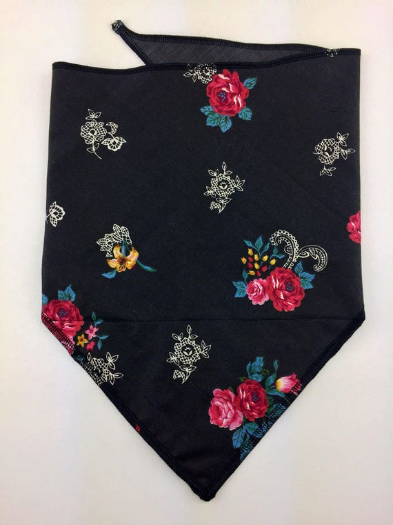 That 90's Vibe: Black Cotton Bandana w/ Wild Rose, Lily & Lace Print with Secret Pocket