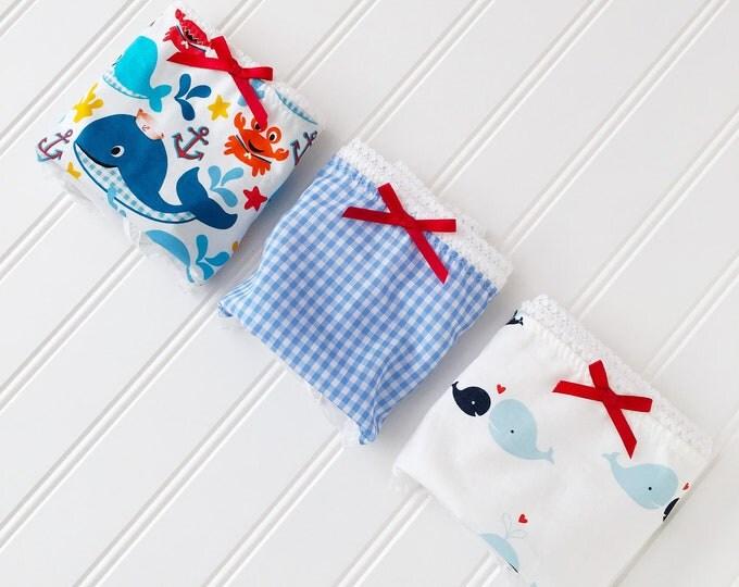 Featured listing image: Nautical 3 piece boyshort panty 'Sailor Girl Set' in blue, white and ruffled chiffon elastic.