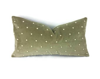 "12"" x 22"" Sage Green Velvet with Cream Embroidered Dots Lumbar Pillow Cover"