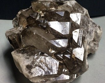 Smoky Quartz 911g HUGE Elestiated Unpolished Raw Crystal Cluster Cabinet Specimen Brazil