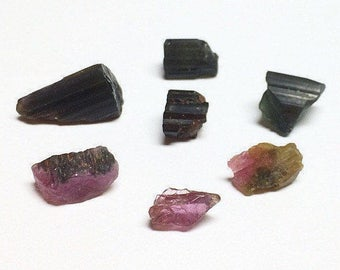Tourmaline Jewel Tones 5.5g Miniature Verdelite Rubellite Bicolored Tiny Raw Unpolished Crystals Parcel Brazil