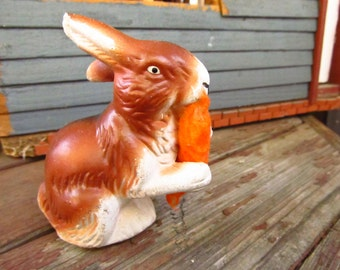 Vintage Plaster Rabbit Candy Container - Easter Rabbit Candy Container