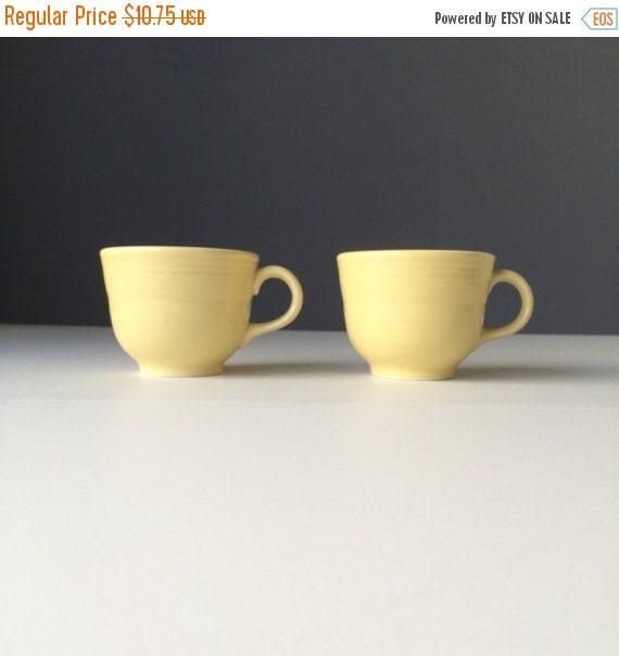 ON SALE Fiesta Ware Pale Yellow Teacups, Retired Discontinued Homer Laughlin Fiesta Ware Cups or Mugs