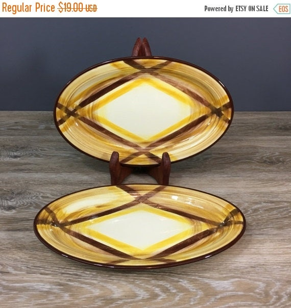 """ON SALE Vernonware Organdie Oval Serving Platters, Yellow Plaid Pattern, TWO 10.5"""", Vintage California Pottery"""