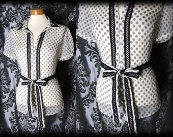 Goth Cream Sheer Black Trim NOSTALGIC Tie Blouse 14 16 Victorian Vintage Glamour