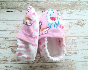 Baby Girl Llama Shoes. Pink Baby Shoes. Girl Baby Shoes.