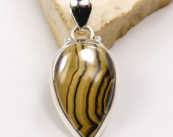 Mystery Black Lace Agate & .925 Sterling Silver Pendant  AF15 The Silver Plaza