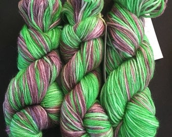 Hand Dyed Yarn, Worsted Weight Yarn, Maleficent