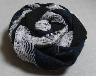 Shappy Chic Rosette - Frayed Denim, Black Jersey, Sparkly Tulle