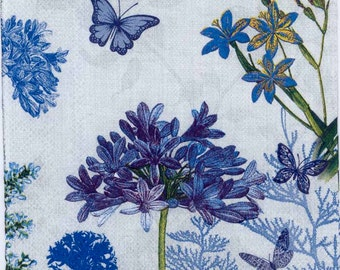 Decoupage Napkins Blue Flowers & Butterflies Butterfly Napkins Floral Napkins Garden Napkins Wildflower Napkins Paper Napkins for Decoupage