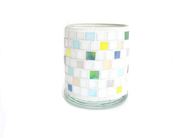 Confetti Candle Holder, pastel decoration, table decor, egg hunt, pastels, soft color votive, stained glass mosaic, candles, prize, smarties