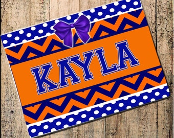 """Personalized Place mat Chevron Polka Dot Orange & Blue 16"""" x 10"""" Fabric Top, rubber backing, heat resistant, absorbs moisture"""