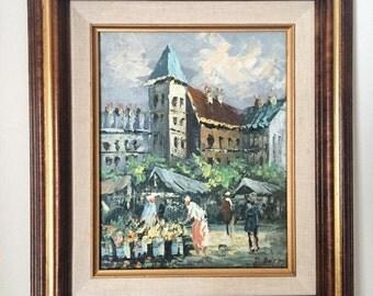 Original Framed European Street Scene