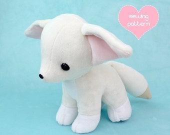 "PDF sewing pattern - Baby Fennec Fox stuffed animal with video tutorials - kawaii plush standing wolf Pokemon plushie canine dog 12"""