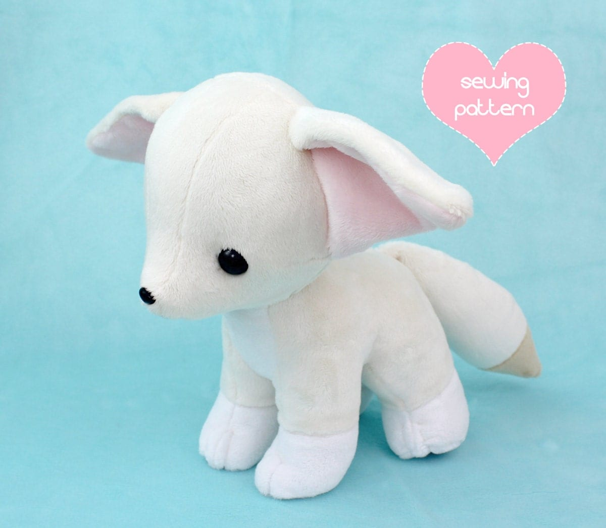 Pdf sewing pattern baby fennec fox stuffed animal with video for Sewing templates for stuffed animals