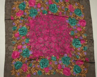 """1980s Albert Nippon Silk Scarf / Signature / Roses  / Pewter Purple Teal / Luxe / large 30.5"""" x 30.5"""""""