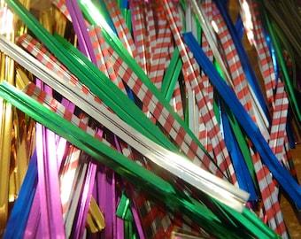 200 Plus Twist Ties Metallic Striped Craft Supply Lot (#299)