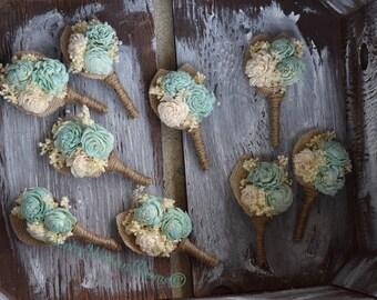 Mint Sola Flower Wedding Boutonniere,Mint Boutonniere, Rustic Groom Boutonniere, Burlap Boutonniere