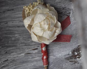 Sola Flower Wedding Boutonniere Ivory Sola Boutonniere Rustic Groom Boutonniere Navy Sola Groom Groomsman Father of the Bride Groom Coral
