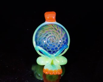 Steal your face silver and gold fumed sea slyme pendant