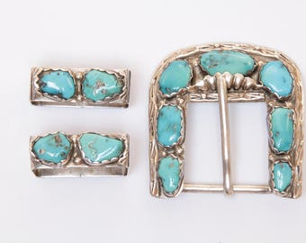 Native American signed Zuni sterling silver and turquoise belt buckle / Zuni artist Angie C. / turquoise belt / turquoise belt buckle pieces