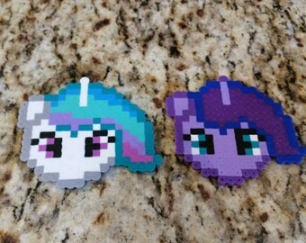 Original Design My Little Pony Princess Celestia and Princess Luna perler bead Keychain or Magnet brony
