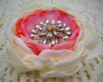 Rhinestone Brooch - Flower Brooch - Fabric Flower Brooch - Brooches - Magnetic Pin - Magnetic Shawl Pin- Gift for Her - Magnetic Corsage
