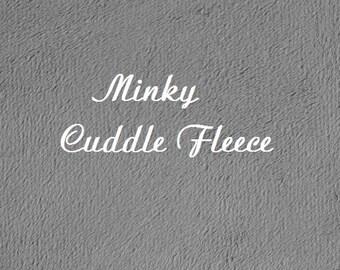 DESTASH SALE Minky Fabric Cuddle Fleece Squares, Grey Minky Fleece Remnant, Gray Blanket Fleece Fabric, Minky Pillow Fabric