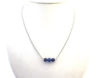 Lapis lazuli bar necklace, 6 mm lapis lazuli beads, stainless steel chain + finishing, natural stone, stone steel, UK September birth stone