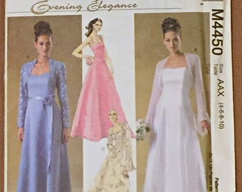 McCall's Evening Elegance Sewing Pattern Size 4-6-8-10 Bridal Dress & Shrug Flounce Formal Prom Bridesmaid Wedding Bride NEW Uncut Excellent