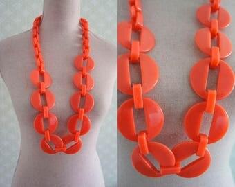80s coral color necklace. Statement necklace. Neon coral necklace.
