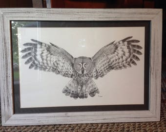 Owl pointillism original framed art: owl drawing, ballpoint pen drawing, micron pen, owl art, owl drawing, barnwood owl, rustic owl, bird