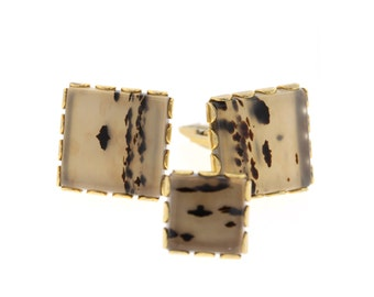 Vintage Moss Agate Cuff Links, Gold Tone Dendritic Agate Men's Cuff Links & Tie Tack