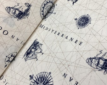 Nautical MARINE MAP Print Fabric - Curtain Upholstery Material - 140cm wide - OCEAN Anchor Compas sold by 1/2 , 1 metre or more