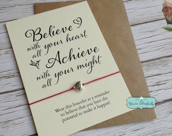 Believe and Achieve Friendship Bracelet, Congratulations Gift, Silver Graduation Gift, Good Luck Gift, Graduation Bracelet, College Gift,
