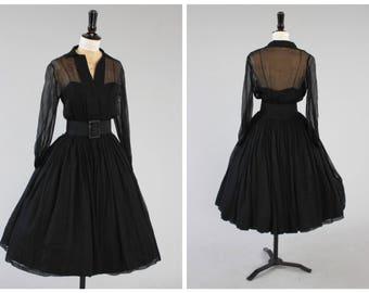 Vintage 1950s 50s original silk chiffon Suzy Perette party dress v full skirt UK 8 US 4 XS S