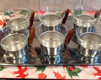 Vintage Tin Metal And wood Six Cups with Glass Inserts Tea Set