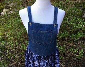 Denim Floral Dress // Overall // 90's // 6 // 8 // Medium // Large // Vintage // Maxi
