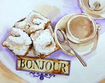 New Orleans Cafe Beignet Breakfast - Original Watercolor Painting