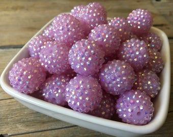 20mm Light Purple Rhinestone Chunky Bead, Spring Bubblegum Bead, Easter Acrylic Bead, DIY Chunky Necklace, 10 Count