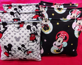 8 ACA Regulation Cornhole Bags made from Minnie Mouse and Mickey Mouse Disney Prints