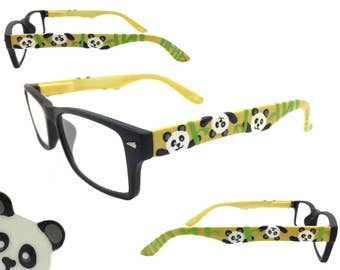 Women's 1.50 Strength Reading Glasses with Hand Painted Panda Bears and Bamboo.  Spring Hinges for Comfort!