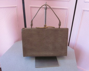 1950s Taupe-Colored Reptile-Embossed Handbag