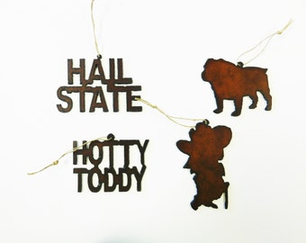 Mississippi (2) themed ornaments mix and match made out of rusted rustic rusty metal