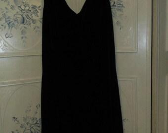 Black Velvet Dress with Beaded Hem, Size Size 14