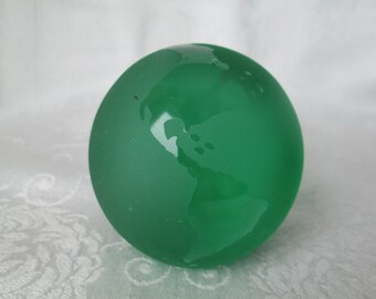 Vintage Green Frosted Glass World/Globe Paperweight