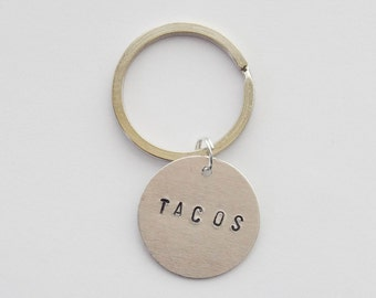 Tacos Key Ring, Tacos Keychain, Taco Accessoires, Handstamped Keychain, Hand stamped Taco Keychain, Tacos Purse Charm, Taco Lover Gift, bffs