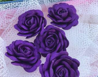 10 pcs Purple Satin Roses , Flower Aplique, 26 mm