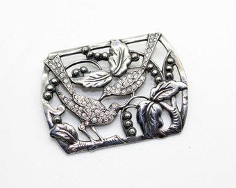 Vintage Art Deco 925 Sterling Silver Rhinestone Birds & Berries Pin Brooch-Leaves- Estate Jewelry Wow!