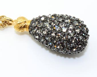 Vintage JOAN RIVERS Smokey Rhinestone Fancy Egg Dangle NECKLACE-Estate Jewelry!